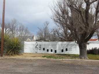 Songs notes mural in Marfa