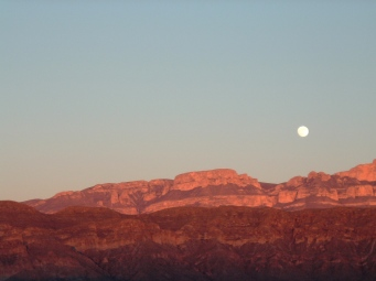 Sierra Del Carmens with full moon
